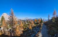Autumn Dolomites mountain scene, Sudtirol, Italy. Cinque Torri (Five towers) rock formation.