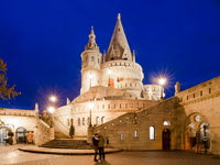 Fishermans Bastion at night. Budapest, Hungary