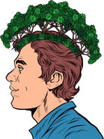 male ecologist. ecology in thoughts concept. parks and forests