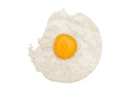 Fried egg. Top view fried eggs with yellow yolk on a white background. Food for the morning breakfast.