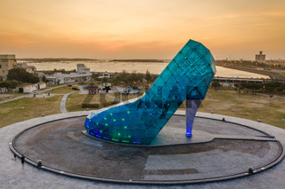 giant glass cinderella shoe church