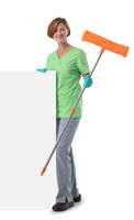Cleaner woman with mop and banner