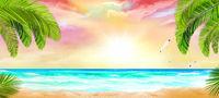 Tropical beach with ocean view