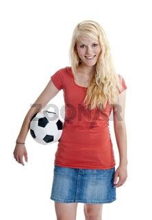 Frau mit Fussball