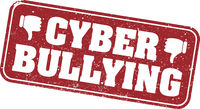 grungy red CYBER BULLYING rubber stamp with thumbs down symbol