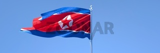 3D rendering of the national flag of North Korea waving in the wind