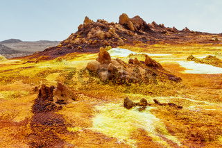 moonscape of Dallol Lake, Danakil depression Ethiopia