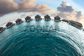 Maldives. houses on piles on water