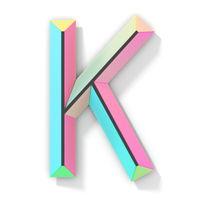 Neon color bright font Letter K 3D