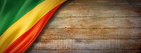 Congolese flag on vintage wood wall banner