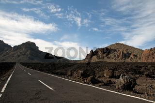 Landstraße, Teide-Nationalpark, Teneriffa, Kanaren, Spanien, Europa
