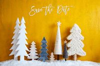 Christmas Trees, Snow, Yellow Background, Save The Date