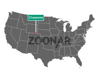 Cheyenne Ortsschild und Karte der USA - Cheyenne city limit sign and map of USA