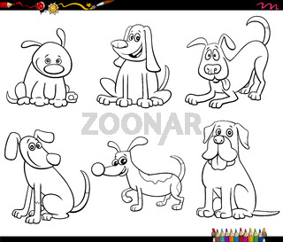cartoon dog characters set coloring book page