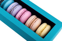 Macaroons in gift box rotated