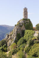 View of  iconic tower clock in Arachova village in Greece