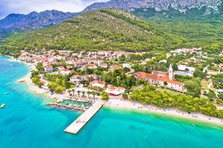 Zaostrog. Aerial view of town of Zaostrog on Makarska riviera