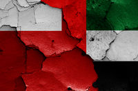 flags of Abu Dhabi and UAE painted on cracked wall