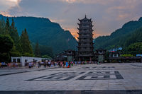 Pagoda at Wulingyuan entrance to the Zhangjiajie national park