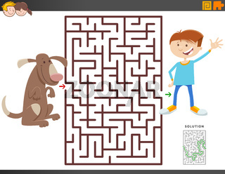 maze game with cartoon boy and dog