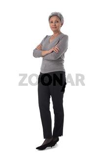 Full length asian woman portrait on white