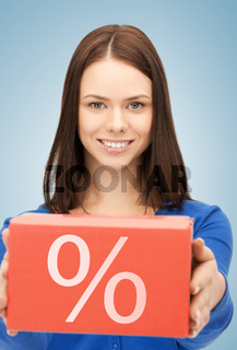 woman with big percent box