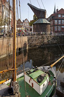 Sailing ship Willi with the wooden treading crane at the Hanseatic harbor, Stade, Germany, Europe