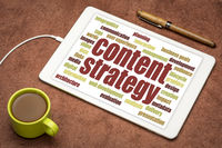 content strategy word cloud on digital tablet