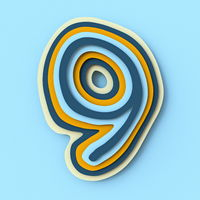 Colorful paper layers font Number 9 NINE 3D