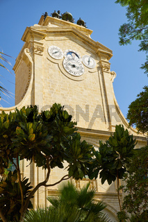 The clock tower in Prince Alfred's Courtyard of Grandmaster's Palace. Valletta. Malta