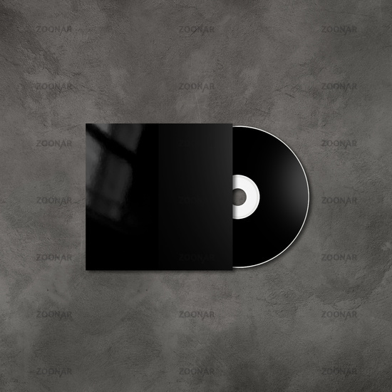 Black CD - DVD mockup template isolated on concrete background
