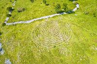 Celestial Labyrinths stone mazes high in mountains above Novi Vinodolski aerial view