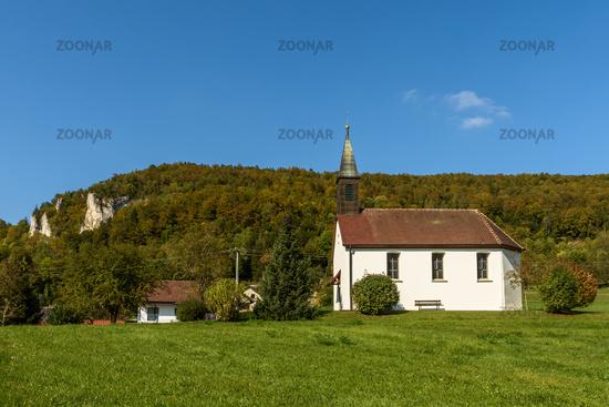 Chapel in Neidingen in the Upper Danube Valley, Sigmaringen district, Baden-Wuerttemberg, Germany