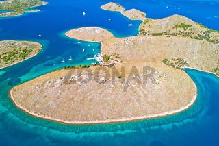 Kornati. Amazing island archipelago landscape of Kornati national park aerial view
