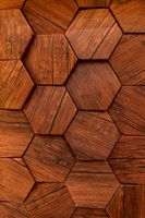 Hexagon of wood pattern background. Old wooden texture in honeycomb form of tiles, consisting of a set of hexagonal plates