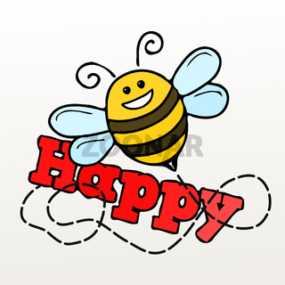 a bee and the word happy