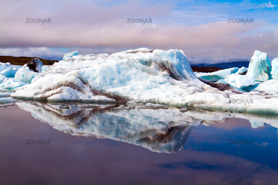 White and blue icebergs