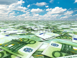 A lot of euro banknotes and sky.