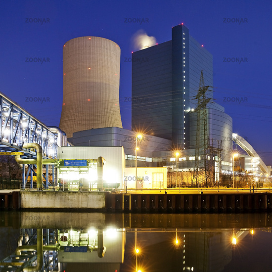 Coal-fired power plant Datteln 4 on the Datteln-Hamm Canal in the evening, Datteln, Germany, Europe