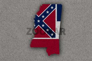 Karte und Fahne von Mississippi auf Filz - Map and flag of Mississippi on felt