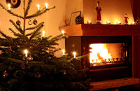 Christmas tree and fire