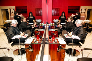 Interior of an Up-Market Hairdresser Barber Salon