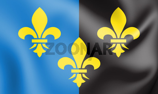 3D Flag of Monmouthshire County, Wales. 3D Illustration.