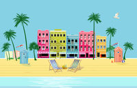 Beach with deck chair under palm trees