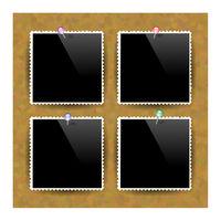 Photo Frame Set. Brown Cork Board Texture. Wood Pattern. Empty Notice Billboard. Office Banner
