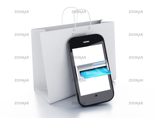 Credit Card and mobile phone. Online payment conce