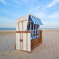 Beach chair on the beach of Ahlbeck on the German Baltic Sea coast