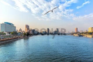 View of the Nile in the downtown of Cairo, Egypt