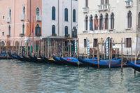 Canal Grande Moored Gondolas