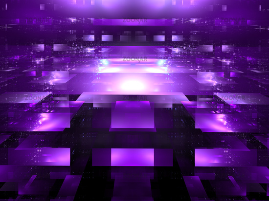 Abstract construction made of translucent blocks - digitally generated 3d illustration